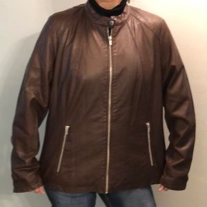 Brown Faux Leather Jacket for Bigger Lady